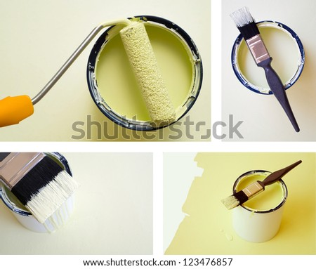 Collage combination of DIY home improvement paint bucket and roller brush - stock photo