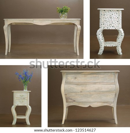 Collage combination various hand crafted classic wooden table and dresser - stock photo