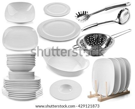 Collage, different, dishes isolated  white set collection - stock photo