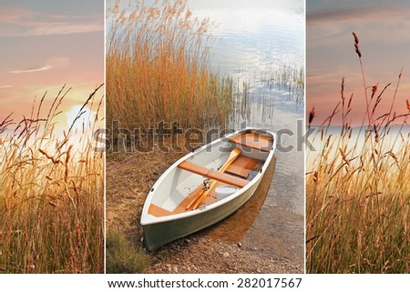 Collage -  evening scenery with rowing boat and sunset at the lake shore - stock photo