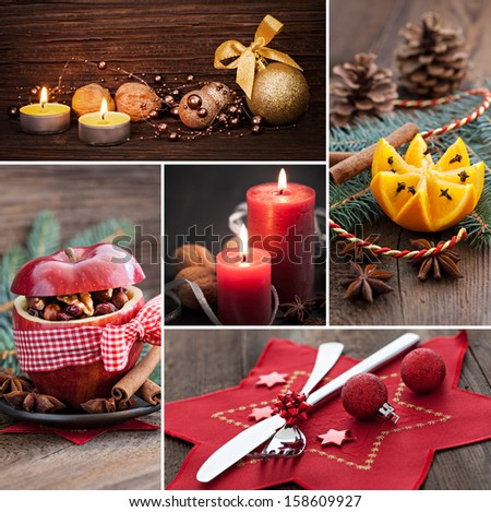 collage for christmas with food and stills - stock photo