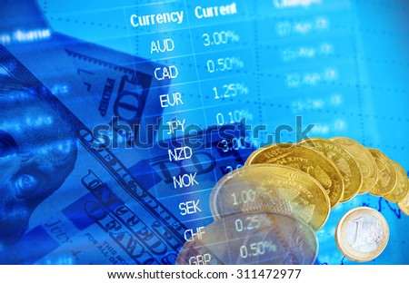 Collage for  financial market concept  - stock photo