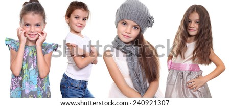 Collage, four happy little girls, isolated on white background - stock photo