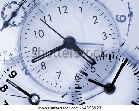 Collage from different clocks - concept of passing time - stock photo