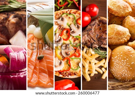 Collage from different pictures of tasty food - stock photo