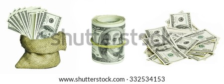 Collage from dollar money on white backgrounds - stock photo