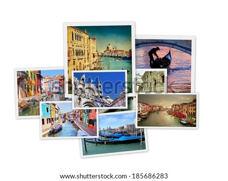 Collage from photos of venice, Italy , isolated on a white background  - stock photo