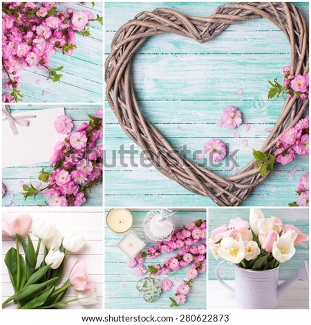 Collage from photos with  heart and pink flowers  on turquoise wooden  background. Selective focus. - stock photo