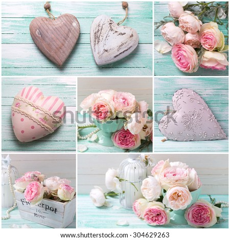 Collage from photos with  with sweet pink roses in vase, decorative hearts and candles  on turquoise painted wooden planks. Shabby chic.  - stock photo