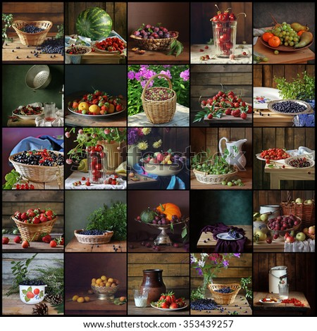 Collage from still lifes with berries in rural style. Food. Berries: bilberry, cherry, strawberry, water-melon, strawberry, plum, wild strawberry, grapes, currant, apricot, gooseberry, sweet cherry. - stock photo