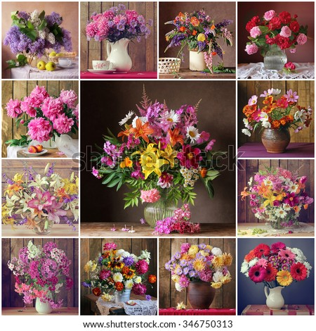 Collage from still lifes with bouquets. Flowers: lilac, chrysanthemum, lupine, tulip, rose, peony, lily, camomile, phlox, aster, Transvaal daisy and others. - stock photo