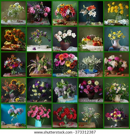 Collage from still lifes with flowers on a green background. - stock photo