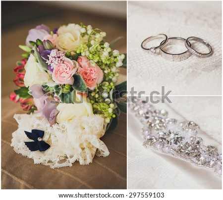 Collage from wedding photos, details of the wedding: bouquet, rings, belts - stock photo