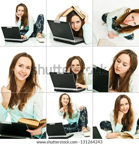 collage from young pretty girl with laptop on white - stock photo