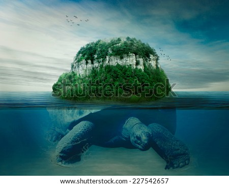 Collage giant world turtle carrying island the earth on back swimming under the ocean surface in blue water. Astrology, astronomy, ancient mythology, mystery, magic, dreamland, imagination concept - stock photo