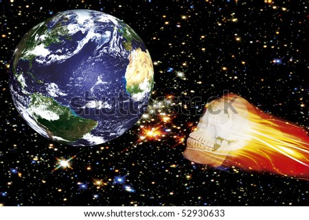 collage - global accident, collision Earth with death asteroid - stock photo