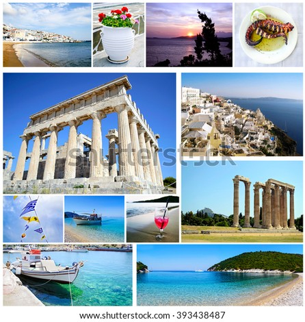 collage Greece - greek ancient - Aegean island - Ionian islands - greek food - greek summer collection - stock photo