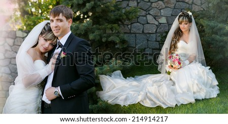 Collage - groom and bride on walk in their wedding day - stock photo