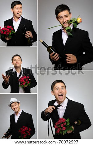 Collage group picture of man with flowers and bottle of vine for valentines day - stock photo