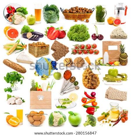 collage healthy food isolated on white background - stock photo