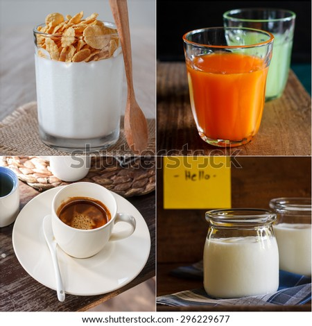 collage image of drink in breakfast. - stock photo