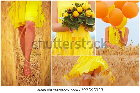 collage in yellow tones of beautiful young woman on summer wheat field - stock photo