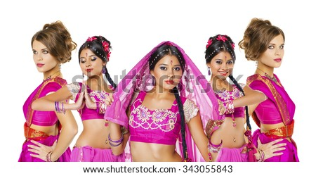 Collage indian women, Young beautiful brunette woman in indian dress - stock photo