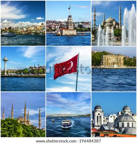 Collage Istanbul landmarks, Turkey - stock photo