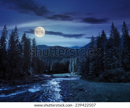 collage landscape with pine trees in mountains and a river in front flowing to lake at night in full moon light - stock photo