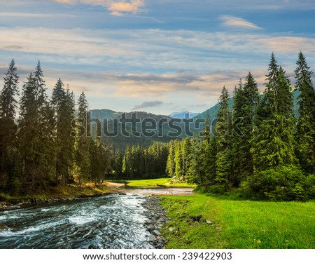 collage landscape with pine trees in mountains and a river in front flowing to lake in sunset light - stock photo