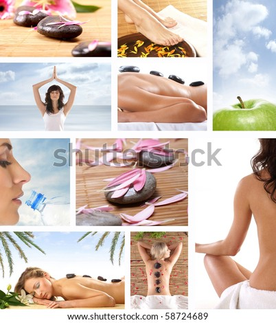 Collage made of many pictures about dieting, fitness and sport - stock photo