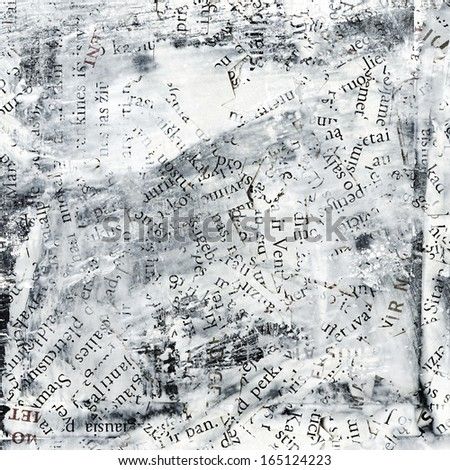 collage made of newspaper and  magazine letters. Grunge background. - stock photo