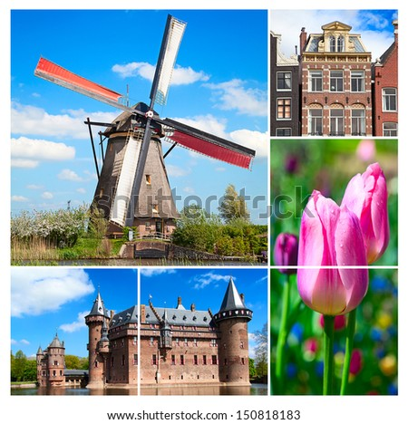 Collage made of various photos from Netherlands - stock photo