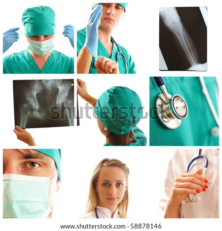 Collage made with medical related images - stock photo