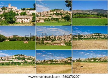 Collage made with photos of Spello village in Umbria - Italy. - stock photo