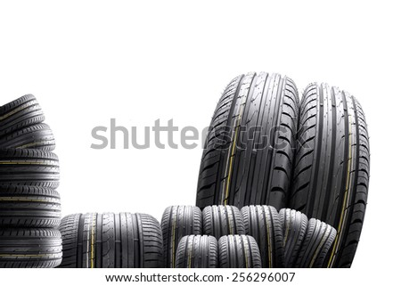 collage, many tires with the distorting effect on white background - stock photo