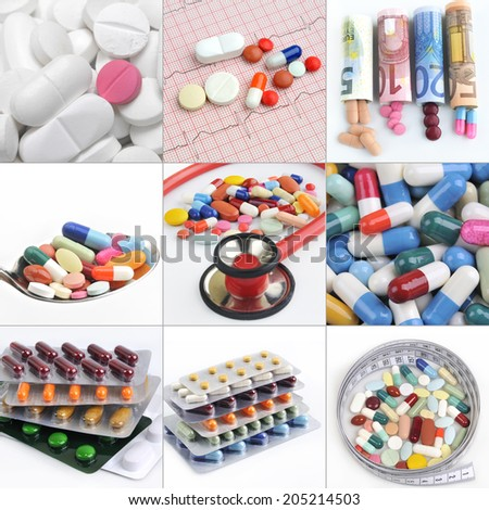 collage medical background of pills and capsules - stock photo