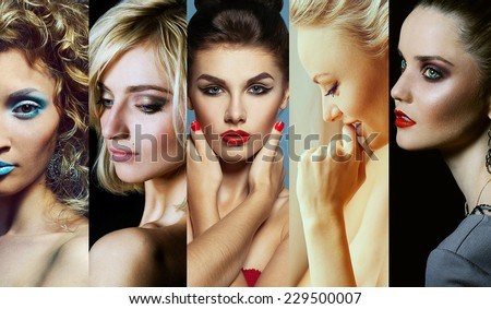 Collage (mosaic) of fashionable women with stylish accessories and perfect make up. Casual and retro style. Close up. Studio shot - stock photo