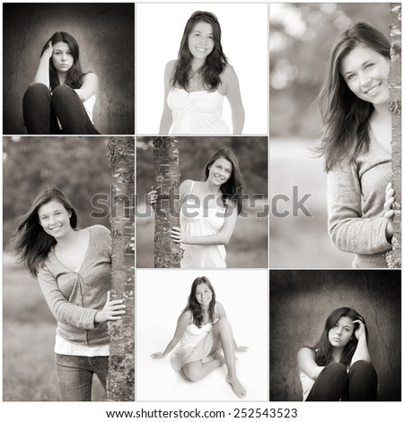 Collage of a beautiful young woman with long brunette hair, beauty concept, seven monochrome photos - stock photo