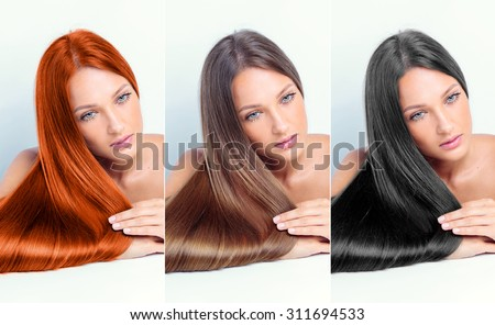 collage of a beautiful young woman , with long natural straight hair , mixed color , concept hairstyle - stock photo