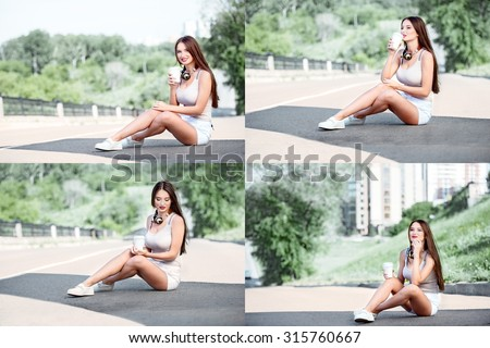 Collage of a beautiful young woman with music headphones around her neck, drinking coffee from a takeaway coffee cup and sitting on the road near a separating strip. - stock photo