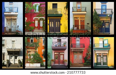 Collage of a colorful houses in Montreal, Canada - stock photo