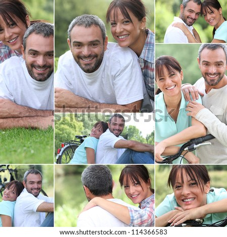 Collage of a couple enjoying a summer's day together - stock photo