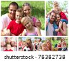 Collage of a family enjoying moments together in a park - stock photo