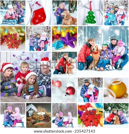 collage of a family photos on a christmas theme - stock photo