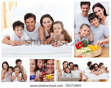 Collage of a family spending time together at home - stock photo