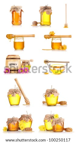 collage of a few jars of honey and flowers isolated on white background - stock photo