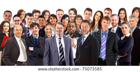 Collage of a large group of people faces - stock photo