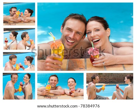Collage of a lovely couple drinking cocktails in a swimming pool - stock photo