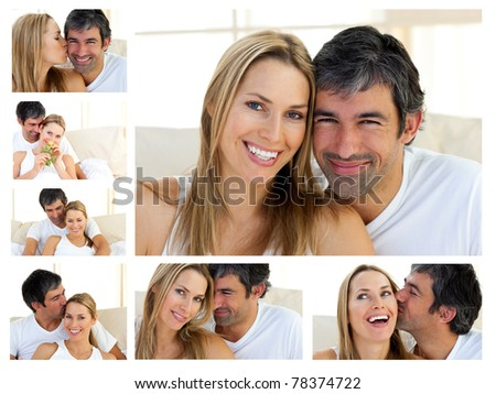 Collage of a middle-aged couple enjoying the moment at home - stock photo